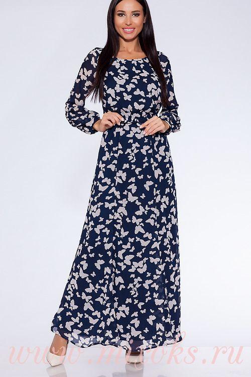 Платье темно-синее с бабочками