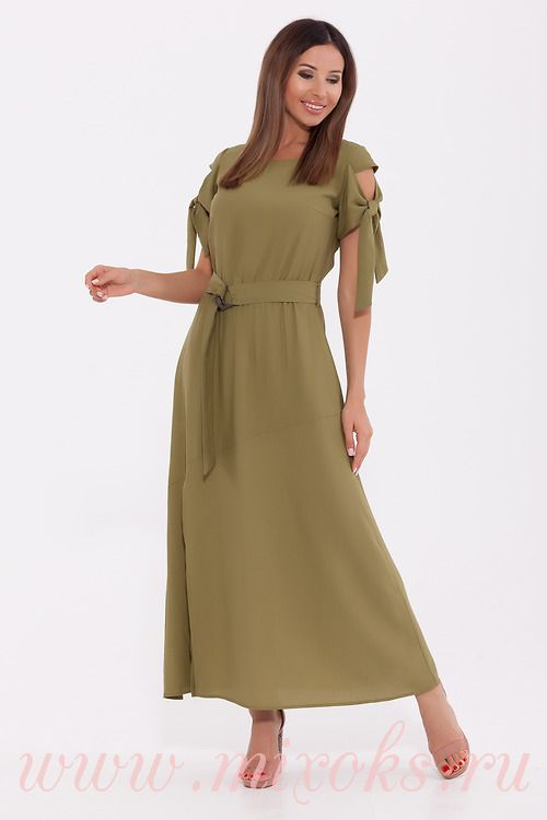 Оливковое платье в пол