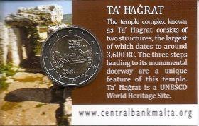 Храм Та' Хаджрат 2 евро Мальта 2019 BU Блистер на заказ