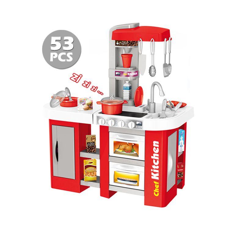 922-46A  игровая кухня с водой интерактивная 53 аксессуара, высота 73 см. красная