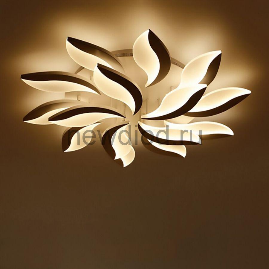 Управляемый светодиодный светильник LILIYA 8050 15 леп. 240Вт-60м² 800мм 6/3/4K пульт Oreol