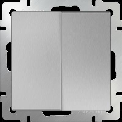 Выключатель двухклавишный проходной WL06-SW-2G-2W Werkel Серебряный