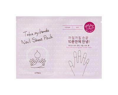 Маска для ногтей парафиновая A'Pieu Take My Hand Nail Sheet Pack Berry Berry