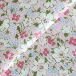Ткань Хлопок Цветы на розовом 50x40