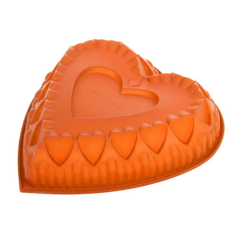 Силиконовая форма для выпечки Сердце (цвет оранжевый)