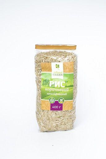 Рис коричневый нешлифованый Natural Green,400 грамм