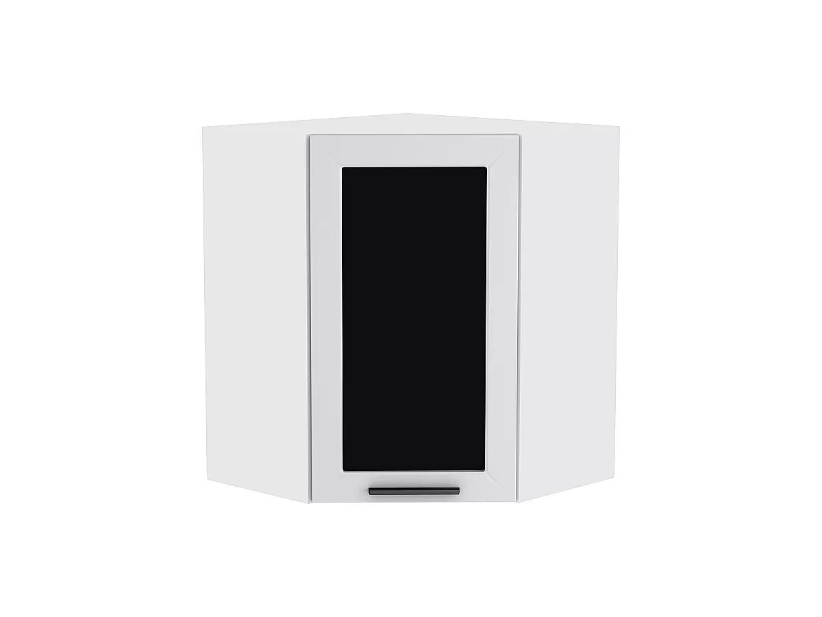 Шкаф верхний угловой (трапеция) Глетчер ВУ590 со стеклом (Гейнсборо Силк)