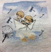 Схема для вышивки крестом Нежные иллюстрации - Бумажный кораблик. Отшив.