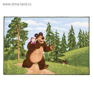 Ковер велюровый В лесу, размер 100х150 см, цвет зеленый, полиамид   4224357