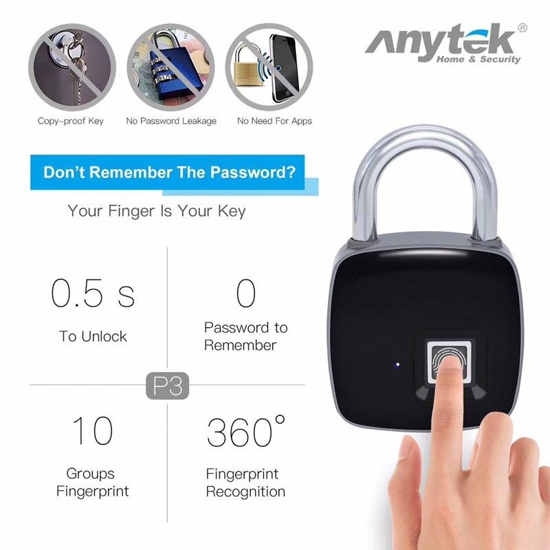 Anytek P3 навесной замок со сканером отпечатка пальца Security Fingerprint