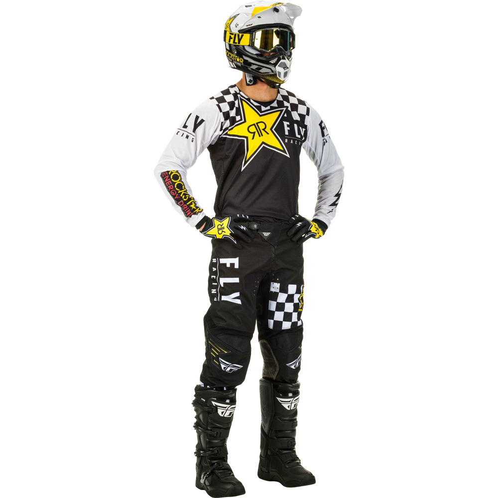 Fly - 2020 Kinetic Rockstar Black/White комплект штаны и джерси, черно-бело-желтый