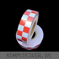 Светоотражающая лента 0,05х25 м красно-белая шашка (Арт.: 24132)