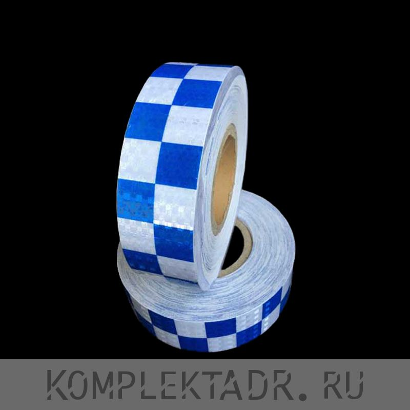 Светоотражающая лента 0,05х25 м сине-белая шашка (Арт.: 24142)