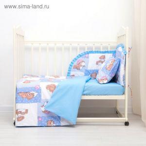Комплект в кроватку (4 предмета), диз. мишки на голубом/горошек на голубом   3246784