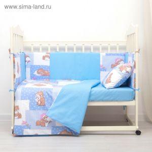 Комплект в кроватку (4 предмета), диз. мишки на голубом/горошек на голубом,   3246766