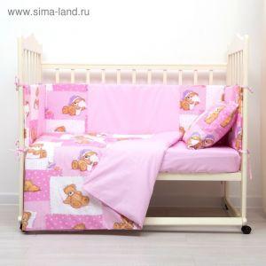 Комплект в кроватку (4 предмета), диз. мишки на розовом/горошек на розовом   3246767
