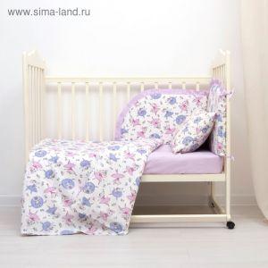 Комплект в кроватку (4 предмета), диз. мышки балеринки/горошек на фиолетовом   3246785