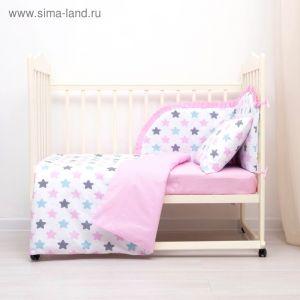 Комплект в кроватку (4 предмета), диз. пряники: серый, роз, гол/горошек на роз, синтепон 3246783