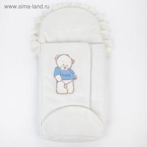 """Конверт на запах """"Мишка Happy"""" (капитон), цвет молочный/голубой   4322920"""
