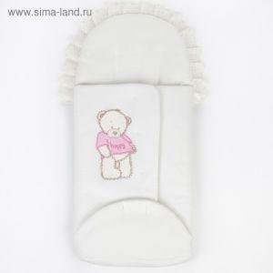 """Конверт на запах """"Мишка Happy"""" (капитон), цвет молочный/розовой   4322919"""
