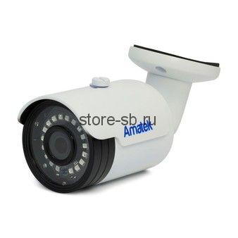 AC-HS203S (3,6) Amatek Уличная цилиндрическая мультиформатная MHD (AHD/ TVI/ CVI/ CVBS) видеокамера, объектив 3.6мм, 2Mp, Ик