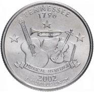 25 центов США 2002г - ТЕНЕССИ, VF - Серия Штаты и территории