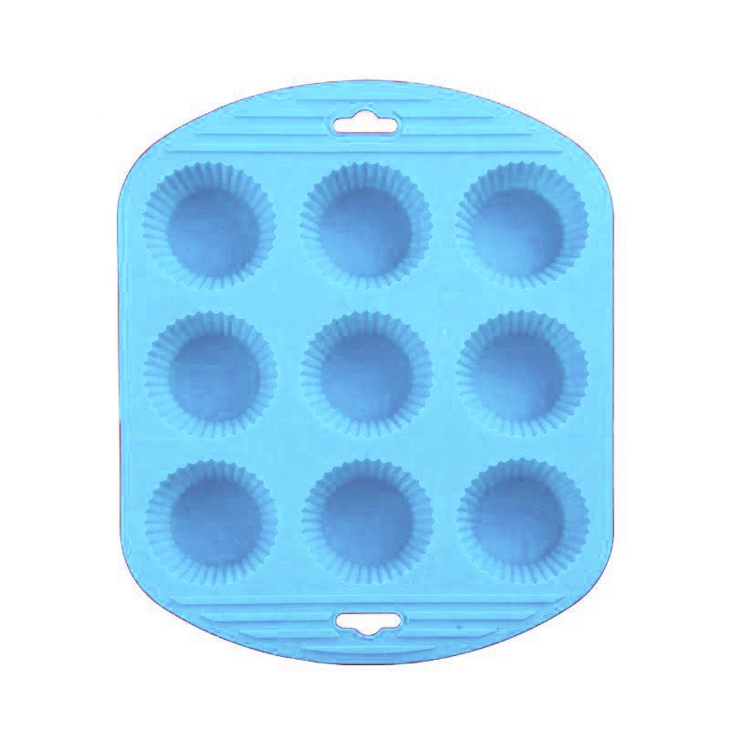 Силиконовая рифлёная форма для выпечки кексов, 9 ячеек, цвет синий