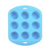 Силиконовая рифлёная форма для выпечки кексов, 9 ячеек, цвет синий (1)