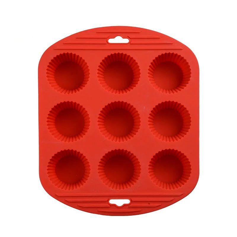 Силиконовая Рифлёная Форма Для Выпечки Кексов, 9 Ячеек, Цвет Красный