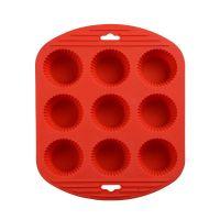 Силиконовая рифлёная форма для выпечки кексов, 9 ячеек, цвет красный (1)