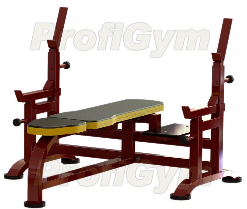 2СК-0041-HР Скамья для жима с упорами и подножками усиленная серия Rubin