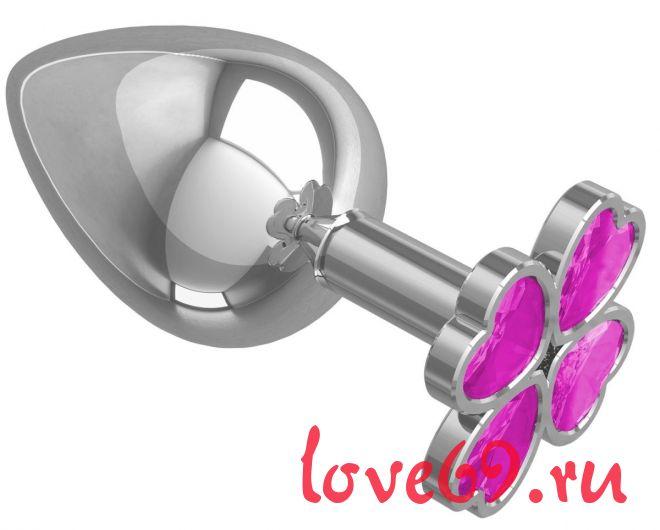 Серебристая анальная пробка-клевер с розовым кристаллом - 9,5 см.