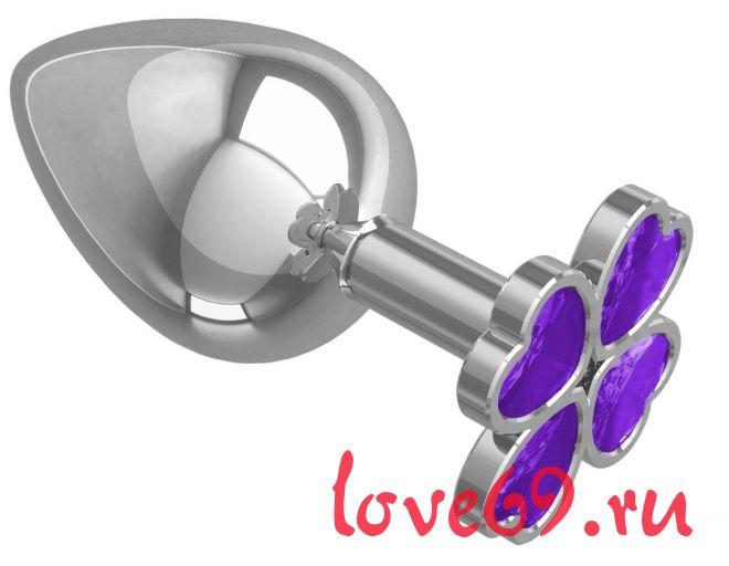 Серебристая анальная пробка-клевер с фиолетовым кристаллом - 9,5 см.