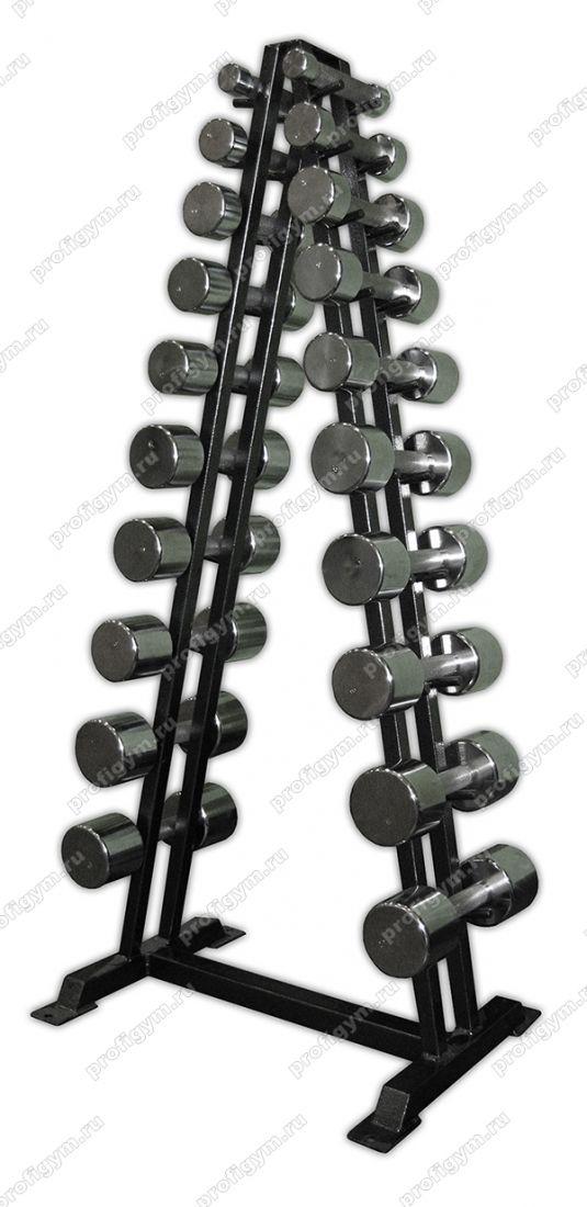 Гф-002 Гантельный ряд хромированный, от 1 до 10кг (10пар)