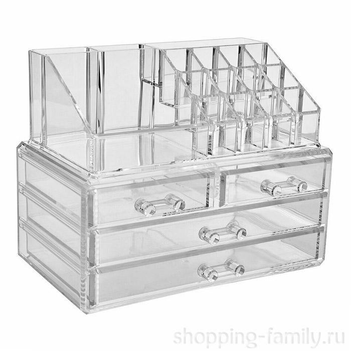 Акриловый органайзер для косметики Multi-Functional Storage Box QFY-3112, Цвет Прозрачный
