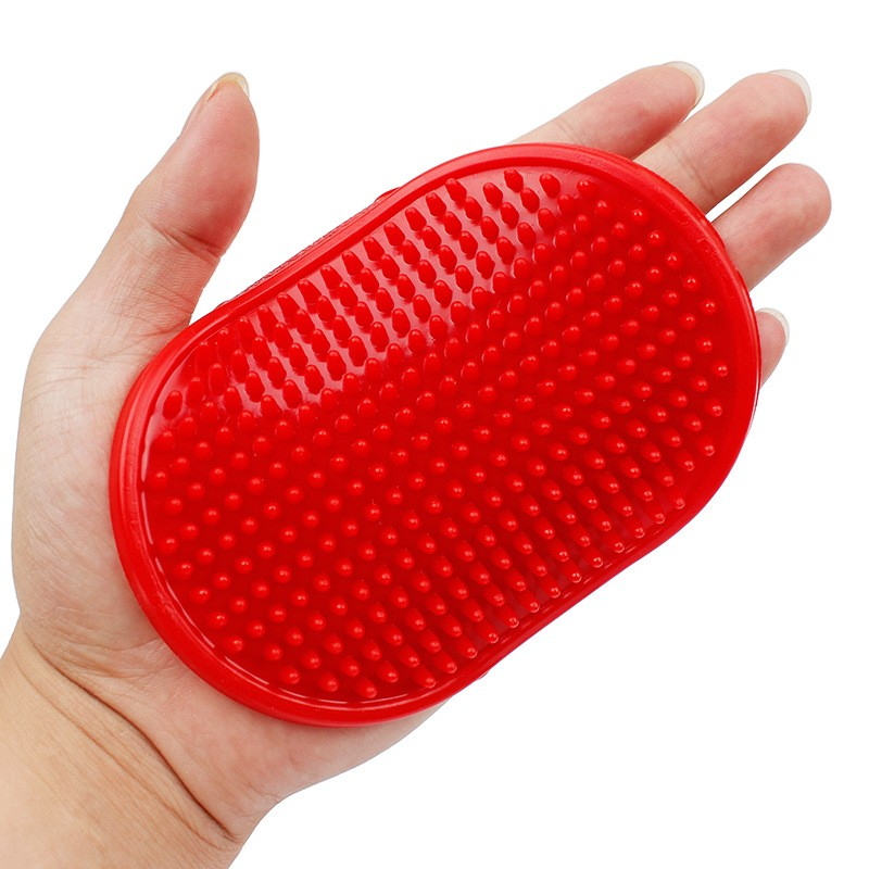 Резиновая Массажная Щётка Для Животных Овал, 12х8 См, Цвет Красный