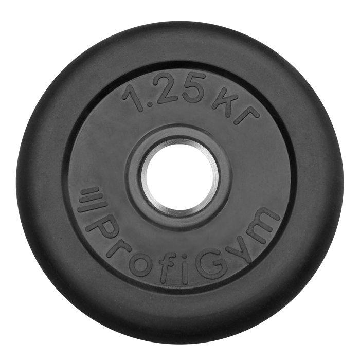 Диск «Profigym» тренировочный обрезиненный 1,25 кг черный 31 мм (металлическая втулка)