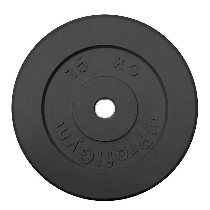 Диск «Profigym» тренировочный обрезиненный 15 кг черный 31 мм (металлическая втулка)