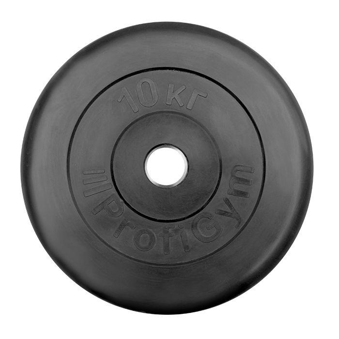 Диск «Profigym» тренировочный обрезиненный 10 кг черный 26 мм (металлическая втулка)