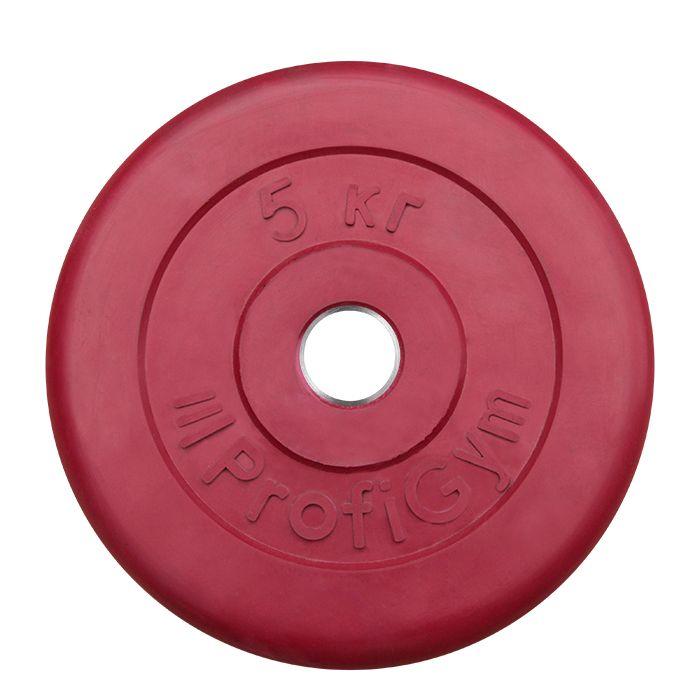 Диск «Profigym» тренировочный обрезиненный 5 кг цветной 26 мм (металлическая втулка)