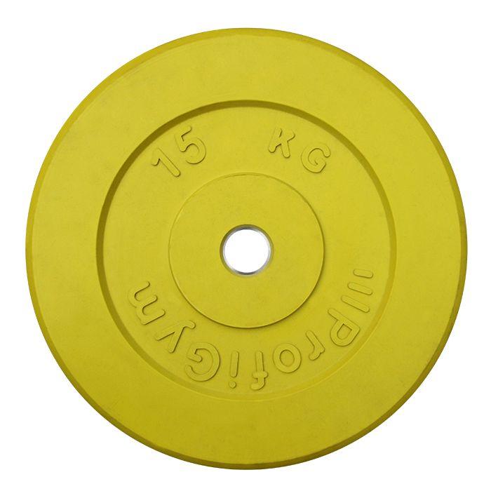 Диск «Profigym» тренировочный обрезиненный 15 кг цветной 26 мм (металлическая втулка)