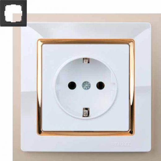 Рамка на 1 пост Werkel WL03-Frame-01-white-GD Белый / золото