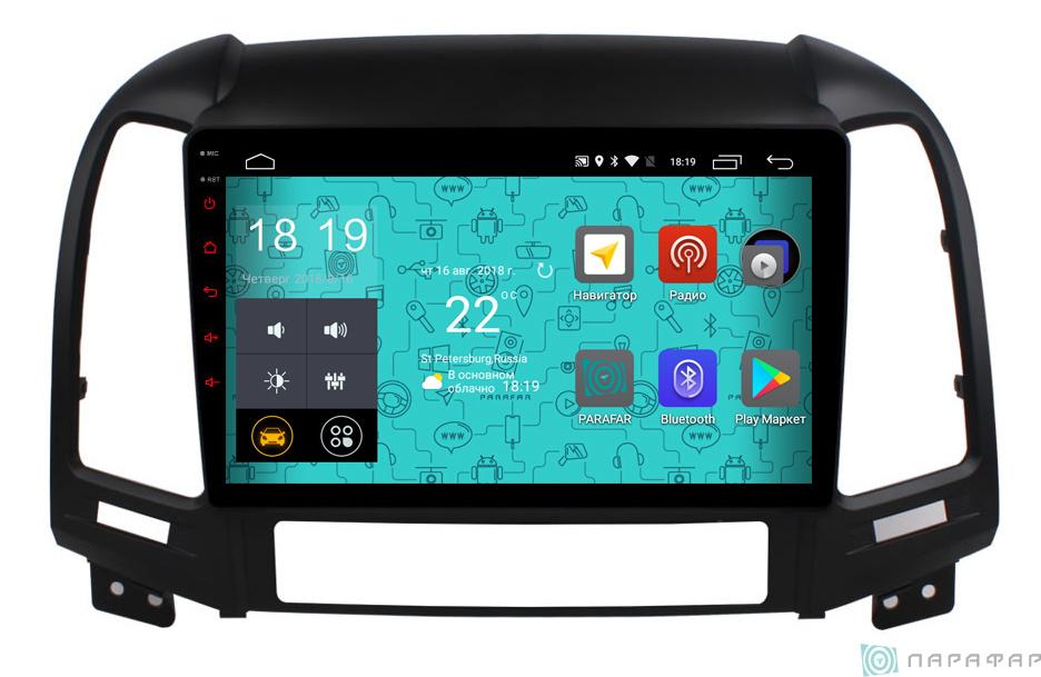 Parafar PF208 4G LTE с IPS матрицей для Hyundai Santa Fe 2 2009-2011 на Android 7.1.1