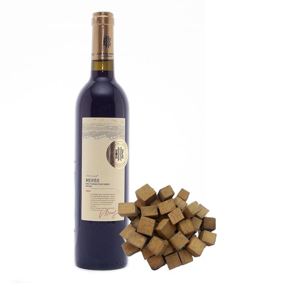 Дубовые кубики, выдержанные в красном вине, 100 гр
