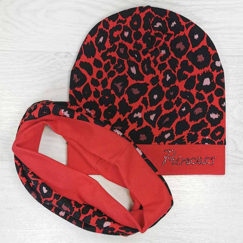 вд1491-23 Комплект трикотажный шапка/снуд леопардовый принт Princess красный