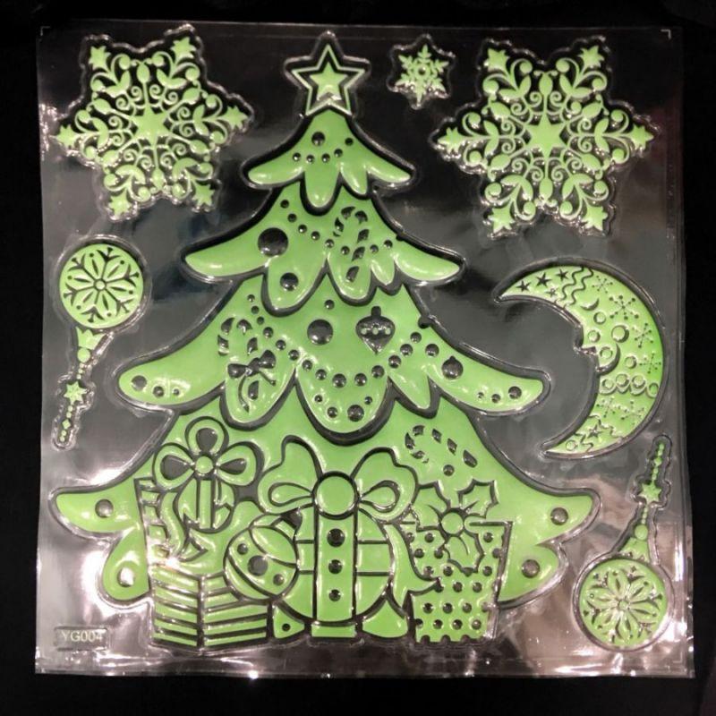 Набор светящихся новогодних наклеек Merry Christmas, 30х40 см, Новогодняя Елка