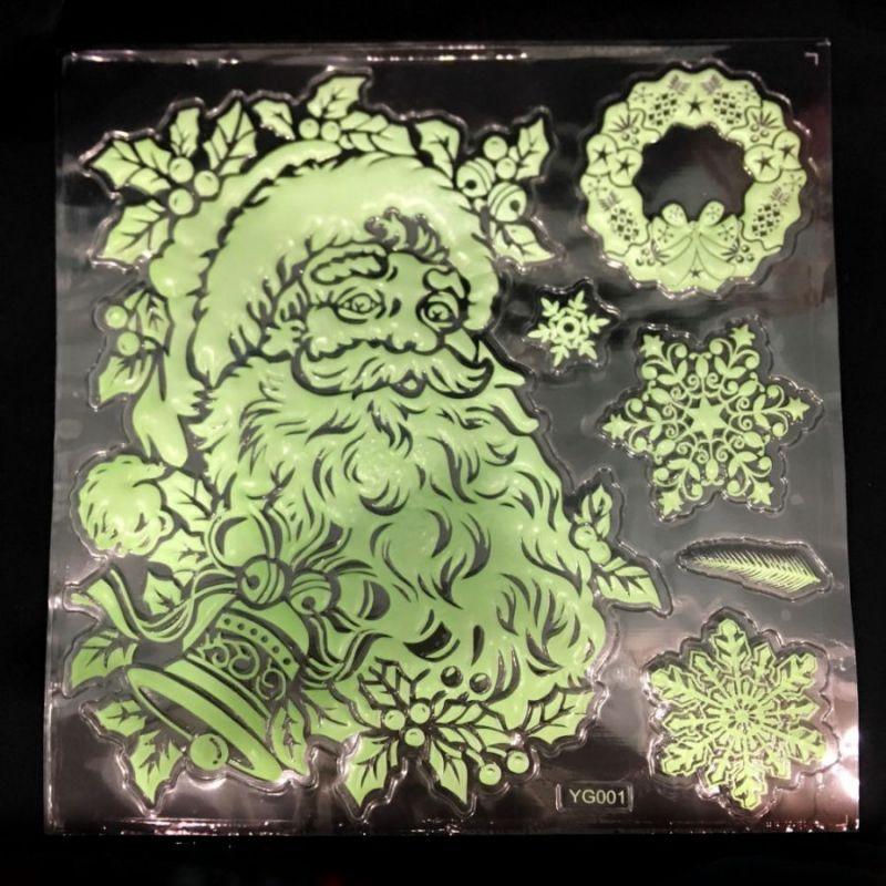 Набор светящихся новогодних наклеек Merry Christmas, 27х21 см, Дед Мороз