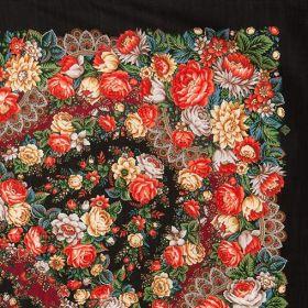 Платок павлопосадский 146*146 см Цветочные бусы [18]