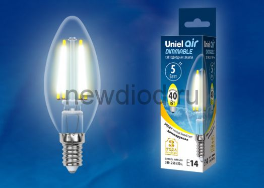 Лампа светодиодная LED-C35 5W/WW/E14/CL/DIM Air 3000К прозрачная Uniel