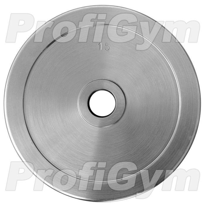 Диск хромированный «ProfiGym» 15 кг посадочный диаметр 26 мм